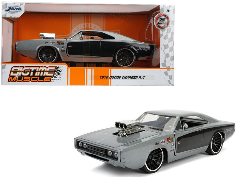 1970 Dodge Charger R/T with Blower Gray Metallic Black Bigtime Muscle 1/24 Diecast Model Car Jada 31668