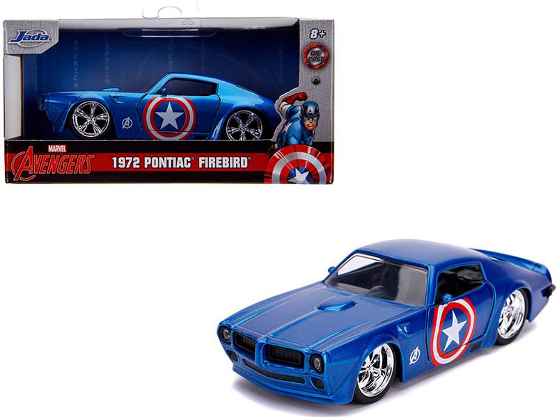 1972 Pontiac Firebird Blue Metallic Captain America Avengers Marvel Series 1/32 Diecast Model Car Jada 31845