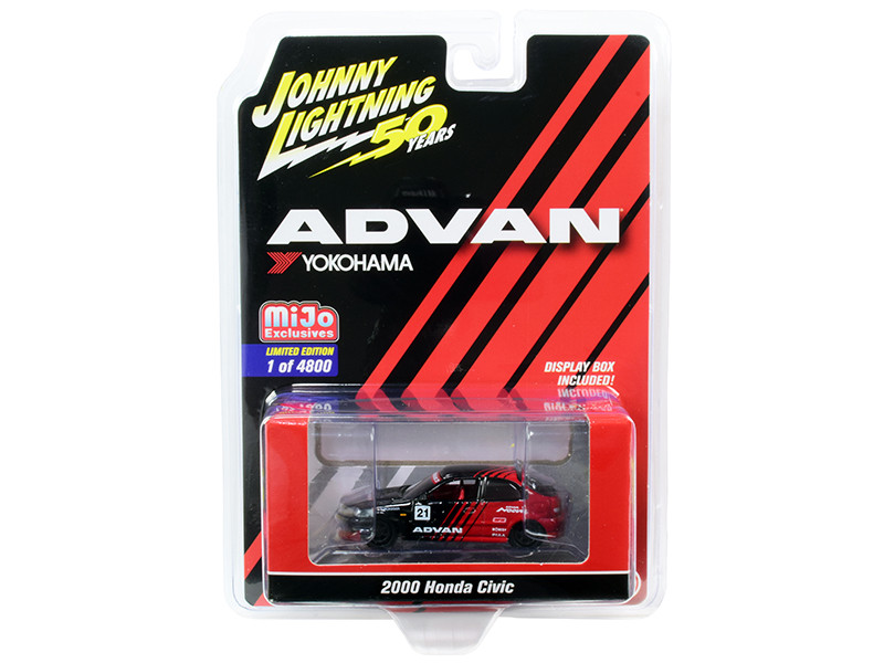2000 Honda Civic #21 ADVAN Yokohama Johnny Lightning 50th Anniversary Limited Edition 4800 pieces Worldwide 1/64 Diecast Model Car Johnny Lightning JLCP7214