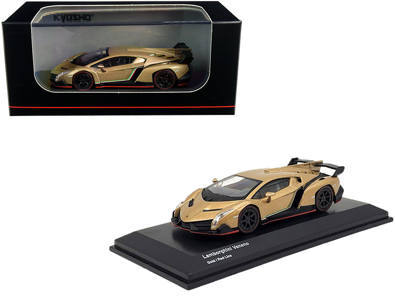 Lamborghini Veneno Gold Red Line 1/64 Diecast Model Car Kyosho KS07040A1