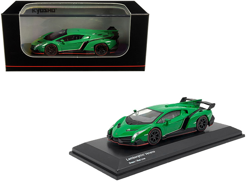 Lamborghini Veneno Green Red Line 1/64 Diecast Model Car Kyosho KS07040A2