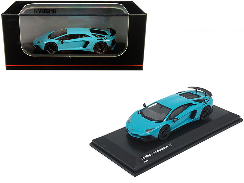 Lamborghini Aventador SV Light Blue 1/64 Diecast Model Car Kyosho KS07065A1