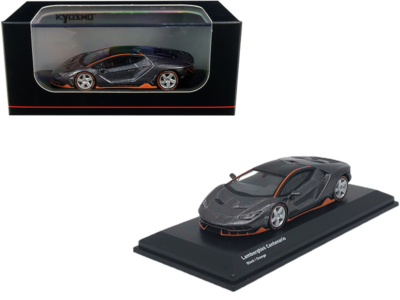 Lamborghini Centenario Black Metallic Orange Accents 1/64 Diecast Model Car Kyosho KS07065A3