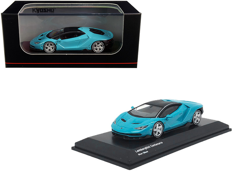 Lamborghini Centenario Light Blue Black Top 1/64 Diecast Model Car Kyosho KS07065A4