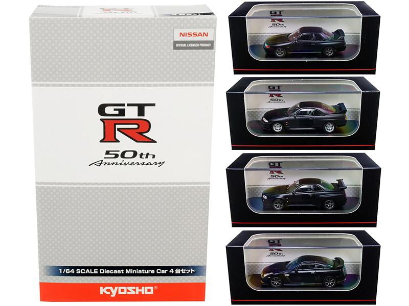GT-R 50th Anniversary Nissan GT-R Matt Black Set of 4 Cars 1/64 Diecast Model Cars Kyosho KS07047B9