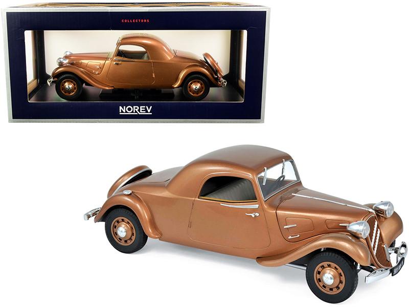 1939 Citroen Traction Avant 11B Coupe Brown Metallic 1/18 Diecast Model Car Norev 181441