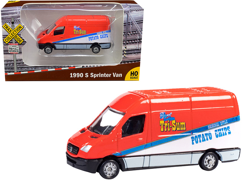 1990 Mercedes Benz Sprinter Van Red White Tri-Sum Potato Chips TraxSide Collection 1/87 HO Scale Diecast Model Classic Metal Works TC103