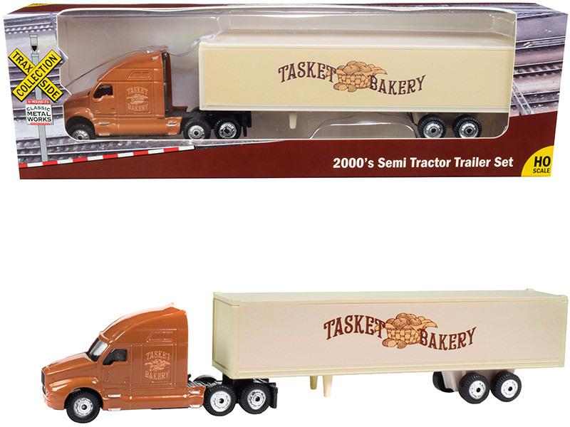 2000's Semi Tractor Trailer Truck Brown Cream Tasket Bakery TraxSide Collection 1/87 HO Scale Diecast Model Classic Metal Works TC107