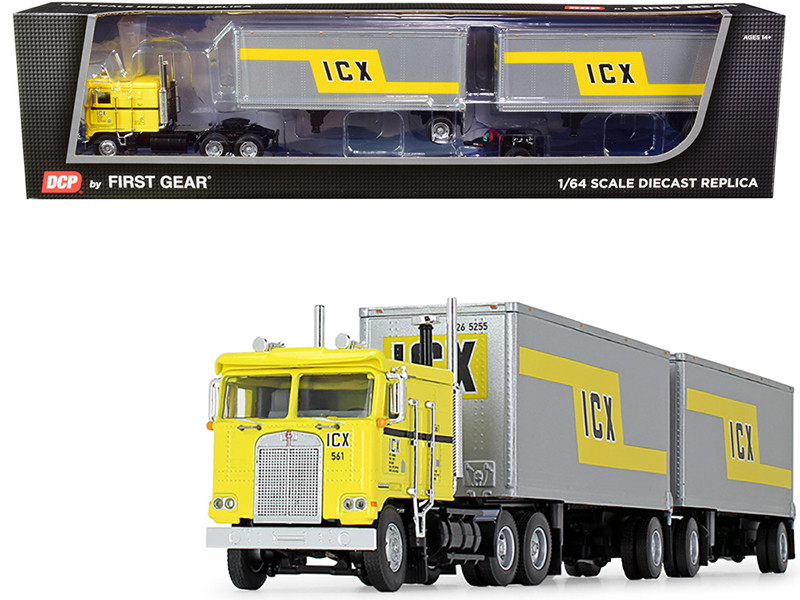Kenworth K100 COE Truck Wabash Double Pup Trailers ICX Illinois California Express Yellow Silver 32th in a Fallen Flag Series 1/64 Diecast Model DCP First Gear 60-0738