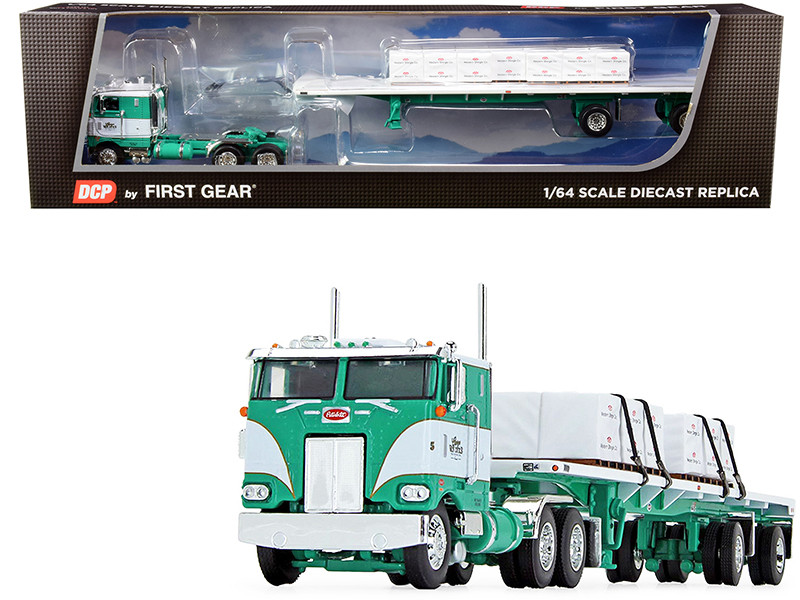 "Peterbilt 352 COE 86"" Sleeper Cab 48' Flatbed Spread-Axle Trailer Shingle Load George Van Dyke Trucking Green White 1/64 Diecast Model DCP First Gear 60-0739"