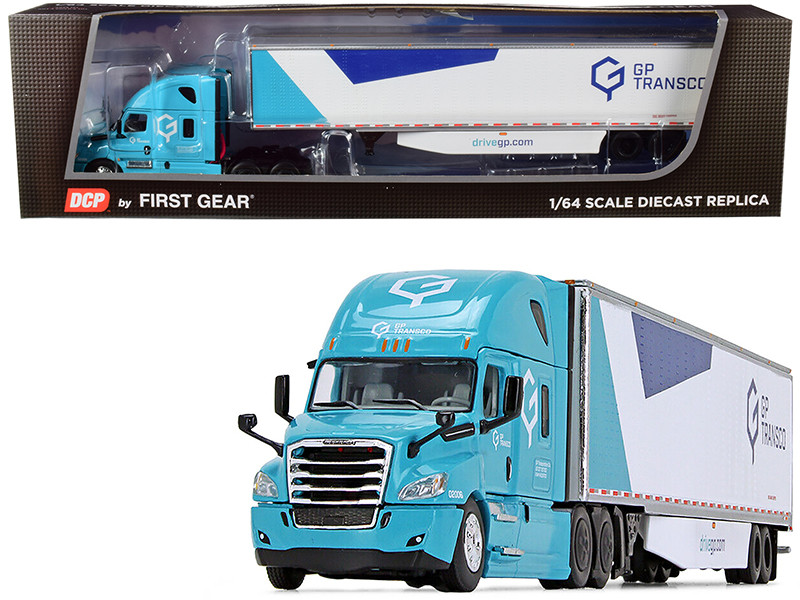 2018 Freightliner Cascadia High-Roof Sleeper Cab 53' Utility Dry Goods Trailer Side Skirts GP Transco Light Blue White 1/64 Diecast Model DCP First Gear 60-0754