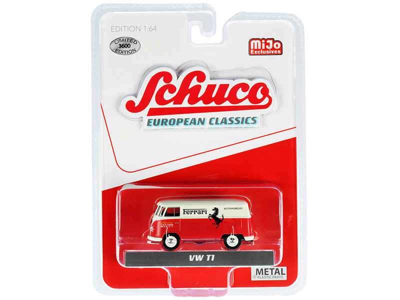 Volkswagen T1 Panel Bus Ferrari Automobiles Red Cream European Classics Series Limited Edition 3600 pieces Worldwide 1/64 Diecast Model Schuco 4700