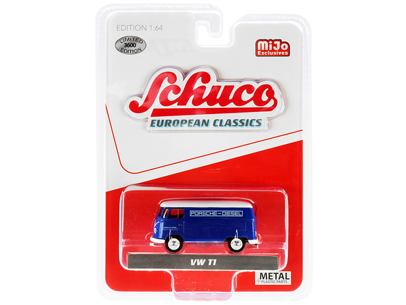 Volkswagen T1 Panel Bus Porsche Diesel Blue White Top European Classics Series Limited Edition 3600 pieces Worldwide 1/64 Diecast Model Schuco 4800