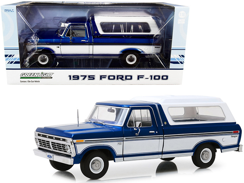 1975 Ford F-100 Ranger Pickup Truck Deluxe Box Cover Midnight Blue Metallic Wimbledon White 1/18 Diecast Model Car Greenlight 13544
