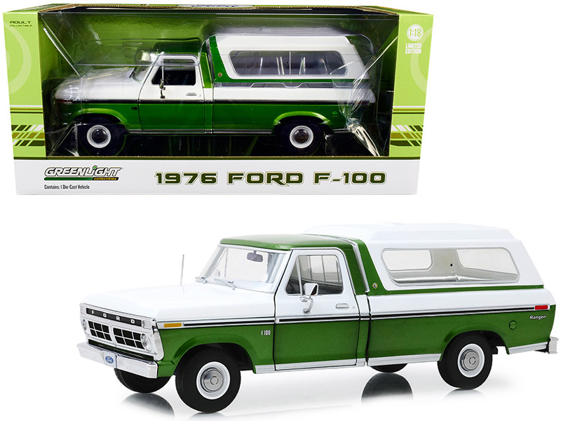 1976 Ford F-100 Ranger Pickup Truck Deluxe Box Cover Medium Green Glow Metallic Wimbledon White 1/18 Diecast Model Car Greenlight 13545