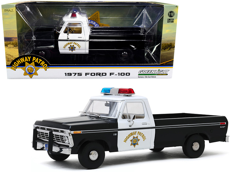 1975 Ford F-100 Pickup Truck California Highway Patrol CHP Black White 1/18 Diecast Model Car Greenlight 13550