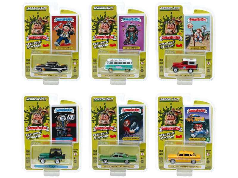 Garbage Pail Kids Series 2 6 piece Set 1/64 Diecast Model Cars Greenlight 54030