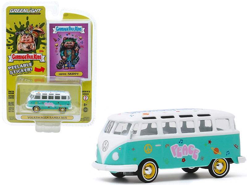 Volkswagen Samba Bus Peace Turquoise Hippie Skippy Garbage Pail Kids Series 2 1/64 Diecast Model Greenlight 54030 B