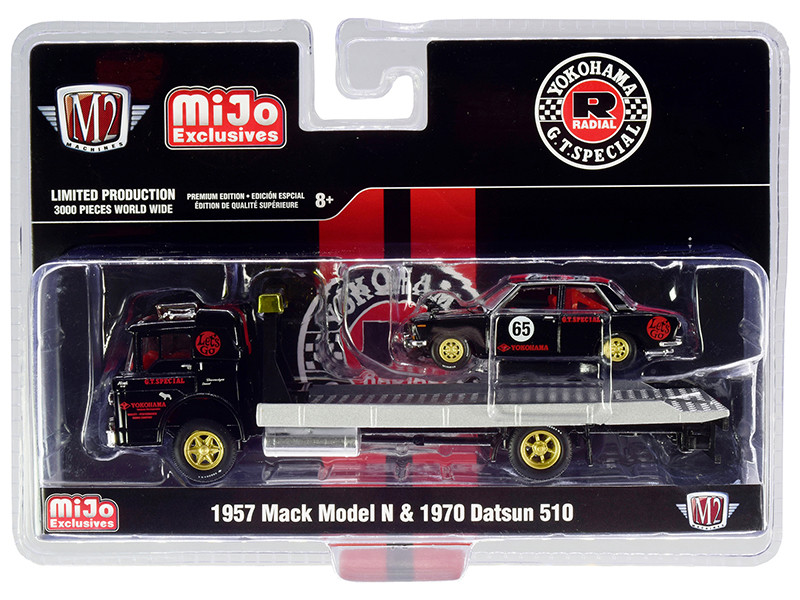 1957 Mack Model N Flatbed Truck 1970 Datsun 510 #65 Yokohama GT Special Black Red Stripes Gold Wheels Red Interiors Limited Edition 3000 pieces Worldwide 1/64 Diecast Models M2 Machines 39200-MJS02