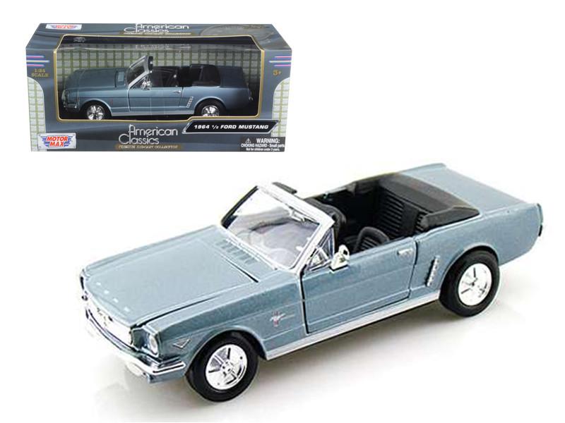 1964 1/2 Ford Mustang Convertible Blue 1/24 Diecast Model Car Motormax 73212