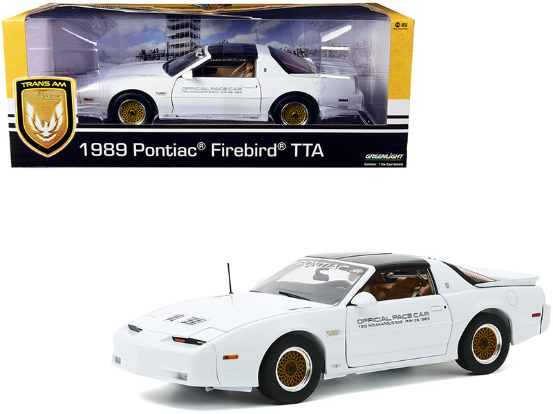 1989 Pontiac Firebird Turbo Trans Am TTA Official Pace Car White 73rd Indianapolis 500 Trans Am 20th Anniversary 1/18 Diecast Model Car Greenlight 13576