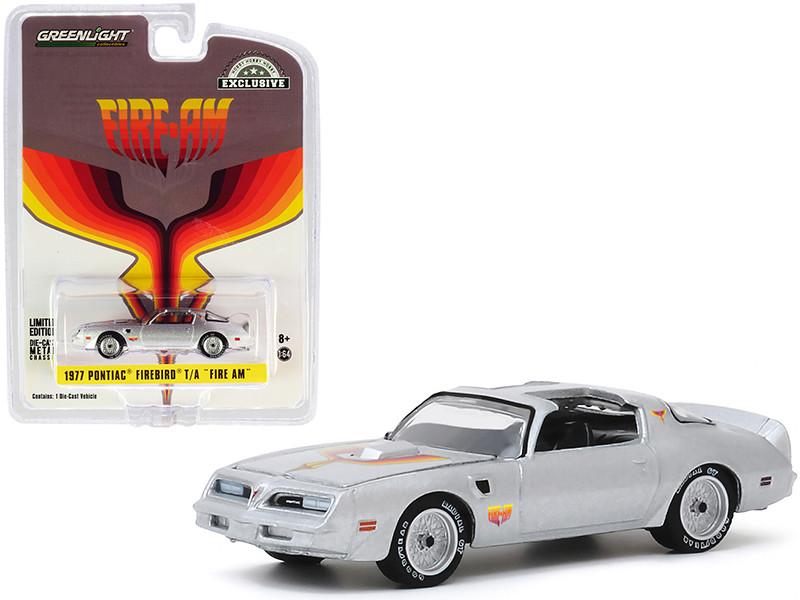 1977 Pontiac Firebird Trans Am Fire Am Silver Metallic Hood Bird Hobby Exclusive 1/64 Diecast Model Car Greenlight 30148