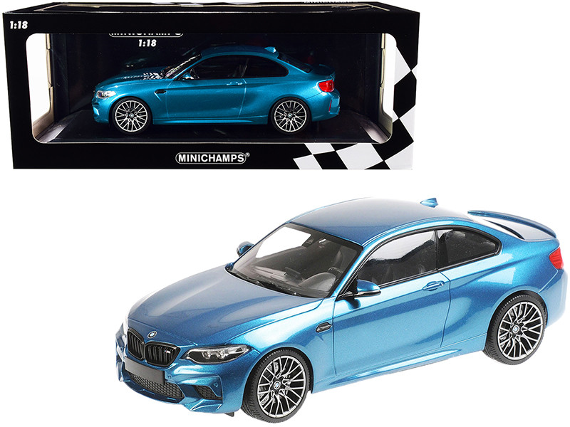 2019 BMW M2 Competition Light Blue Metallic Limited Edition 504 pieces Worldwide 1/18 Diecast Model Car Minichamps 155028002