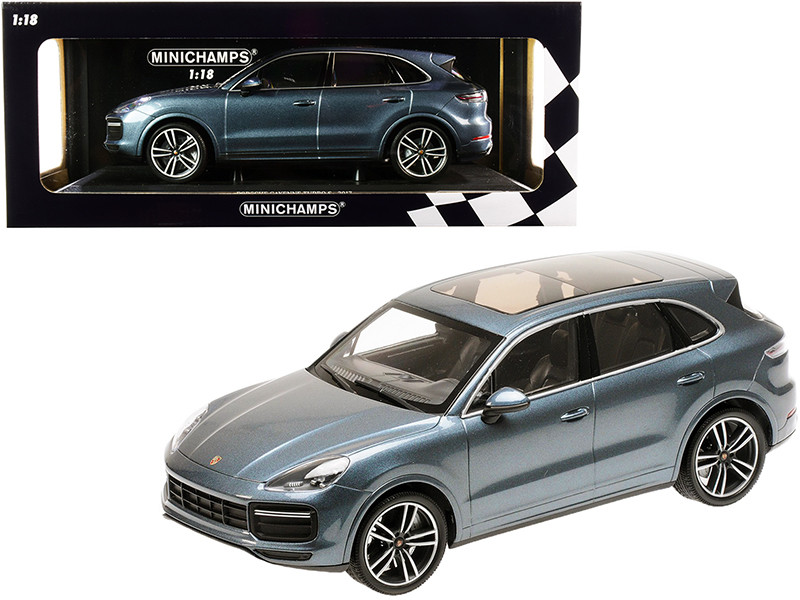 2017 Porsche Cayenne Turbo S Blue Metallic Limited Edition 300 pieces Worldwide 1/18 Diecast Model Car Minichamps 155066071