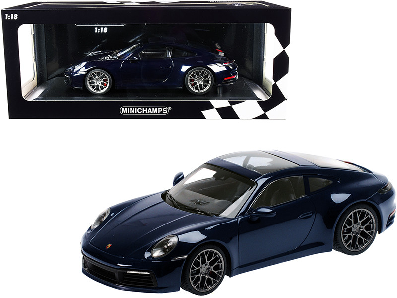 2019 Porsche 911 Carrera 4S Dark Blue Metallic Limited Edition 336 pieces Worldwide 1/18 Diecast Model Car Minichamps 155067321