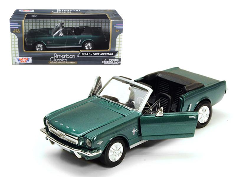 1964 1/2 Ford Mustang Convertible Green 1/24 Diecast Model Car Motormax 73212