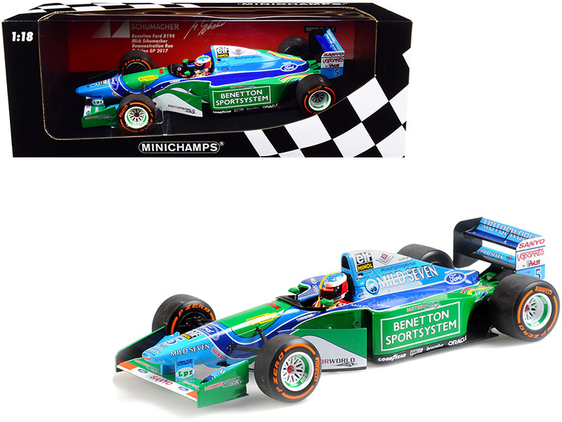 Benetton Ford B194 #5 Mick Schumacher Demonstration Run Formula One F1 Belgian Grand Prix 2017 Limited Edition 504 pieces Worldwide 1/18 Diecast Model Car Minichamps 510941705