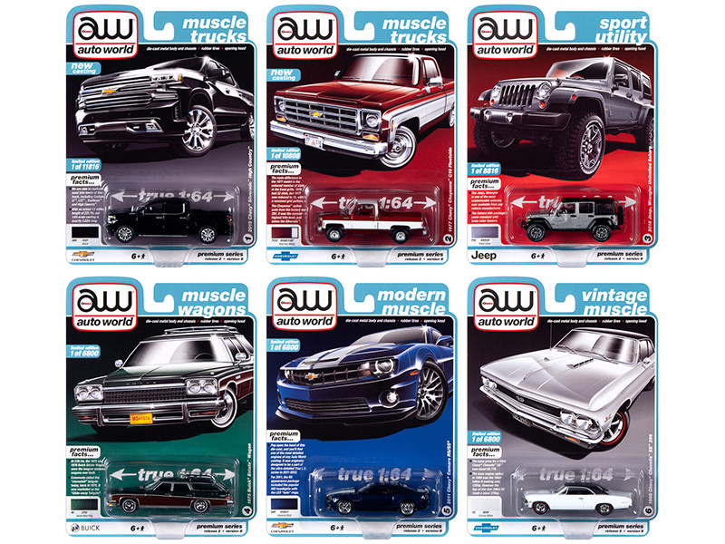 Autoworld Muscle Cars Premium 2020 Release 2 Set B of 6 pieces 1/64 Diecast Model Cars Autoworld 64252 B