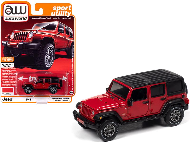 2018 Jeep Wrangler Unlimited Sahara 4-door Firecracker Red Black Top Sport Utility Limited Edition 11816 pieces Worldwide 1/64 Diecast Model Car Autoworld 64252 AWSP036 A