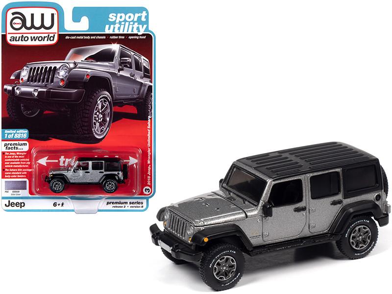 2018 Jeep Wrangler Unlimited Sahara 4-door Billet Silver Metallic Black Top Sport Utility Limited Edition 8816 pieces Worldwide 1/64 Diecast Model Car Autoworld 64252 AWSP036 B