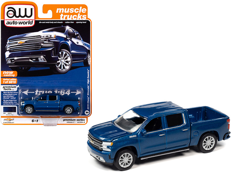 2019 Chevrolet Silverado High Country Pickup Truck Northsky Blue Metallic Muscle Trucks Limited Edition 8816 pieces Worldwide 1/64 Diecast Model Car Autoworld 64252 AWSP037 A