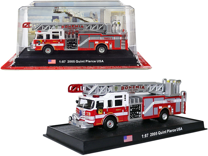 2005 Pierce Velocity 75' Quint Aerial Pump Fire Engine Bohemia Fire Dept Bohemia New York 1/87 HO Scale Diecast Model Amercom ACSF03