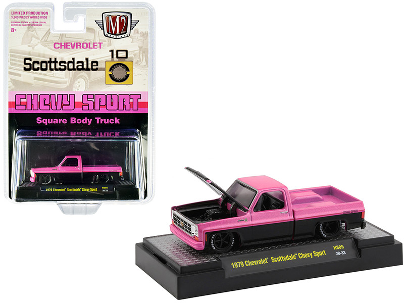 1979 Chevrolet Scottsdale Chevy Sport Square Body Truck Pink Metallic Black Pearl Limited Edition 3600 pieces Worldwide 1/64 Diecast Model Car M2 Machines 31500-HS05