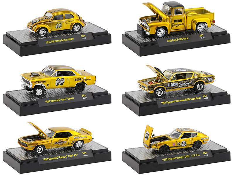 Mooneyes Liquid Gold Release Set of 6 pieces DISPLAY CASES 1/64 Diecast Model Cars M2 Machines 32500-S81