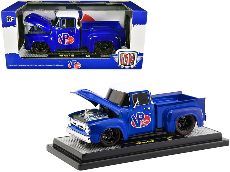 1956 Ford F-100 Pickup Truck Blue White Top VP Racing Fuel Limited Edition 6880 pieces Worldwide 1/24 Diecast Model Car M2 Machines 40300-77 A