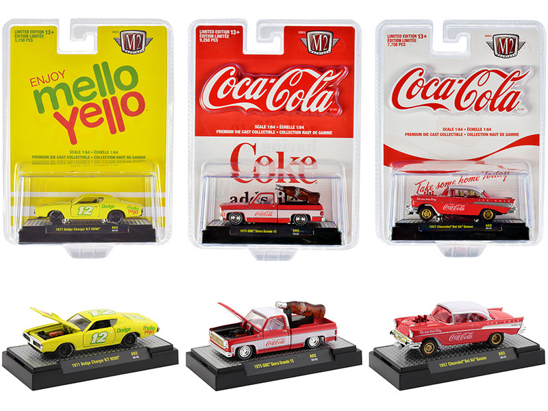 Coca-Cola Mello Yello Set of 3 pieces 1/64 Diecast Model Cars M2 Machines 52500-A02