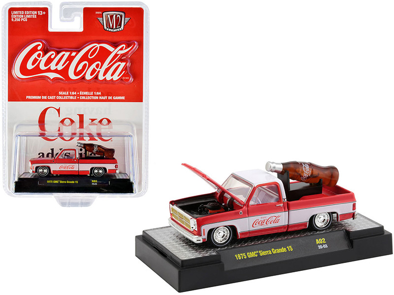 1975 GMC Sierra Grande 15 Pickup Truck Coke Red White White Interior Coca-Cola Bottle Limited Edition 9250 pieces Worldwide 1/64 Diecast Model Car M2 Machines 52500-A02