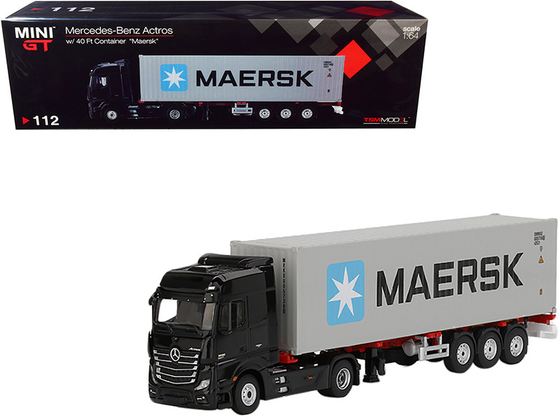 Mercedes Benz Actros Trailer 40' Container Maersk Black Gray 1/64 Diecast Model True Scale Miniatures MGT00112