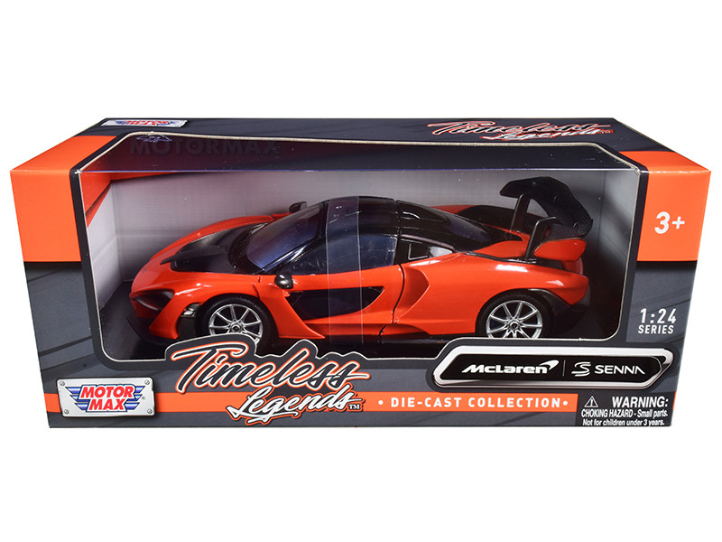 McLaren Senna Orange Metallic Black Timeless Legends 1/24 Diecast Model Car Motormax 79355