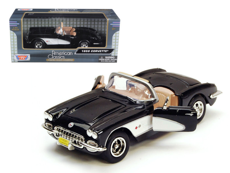 1959 Chevrolet Corvette Black 1/24 Diecast Model Car Motormax 73216