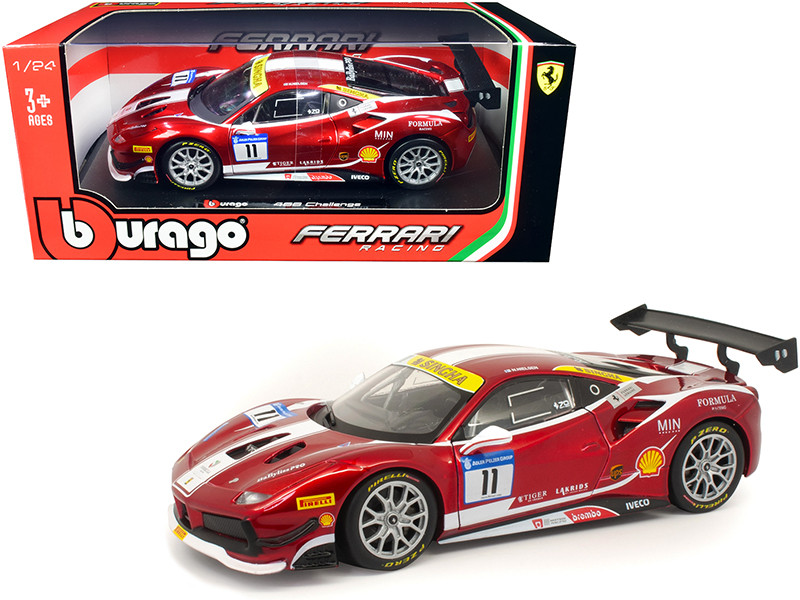 Ferrari 488 Challenge #11 Candy Red White Stripes Ferrari Racing 1/24 Diecast Model Car Bburago 26308