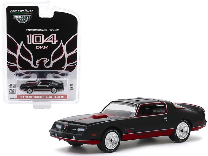 1978 Pontiac Firebird Macho Trans Am #104 Mecham Design Black Red Stripes Hobby Exclusive 1/64 Diecast Model Car Greenlight 30149