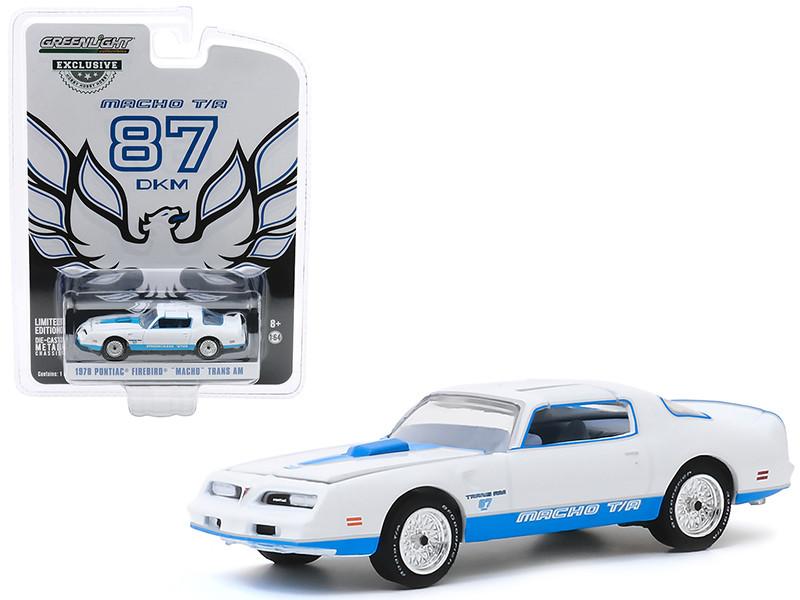 1978 Pontiac Firebird Macho Trans Am #87 Mecham Design White Blue Stripes Hobby Exclusive 1/64 Diecast Model Car Greenlight 30150