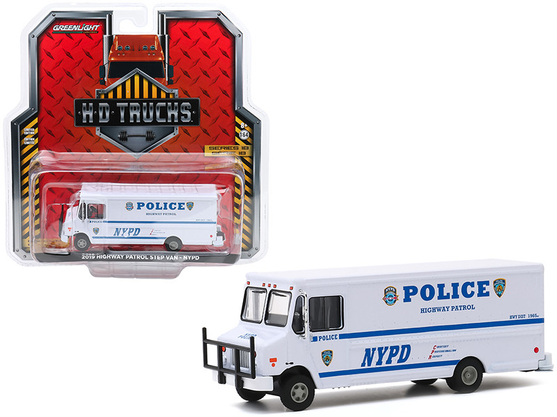 2019 Highway Patrol Step Van New York City Police Dept NYPD White H.D. Trucks Series 18 1/64 Diecast Model Greenlight 33180 C