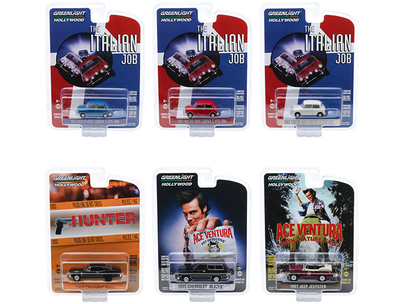 Hollywood Series Set of 6 pieces Release 28 1/64 Diecast Model Cars Greenlight 44880