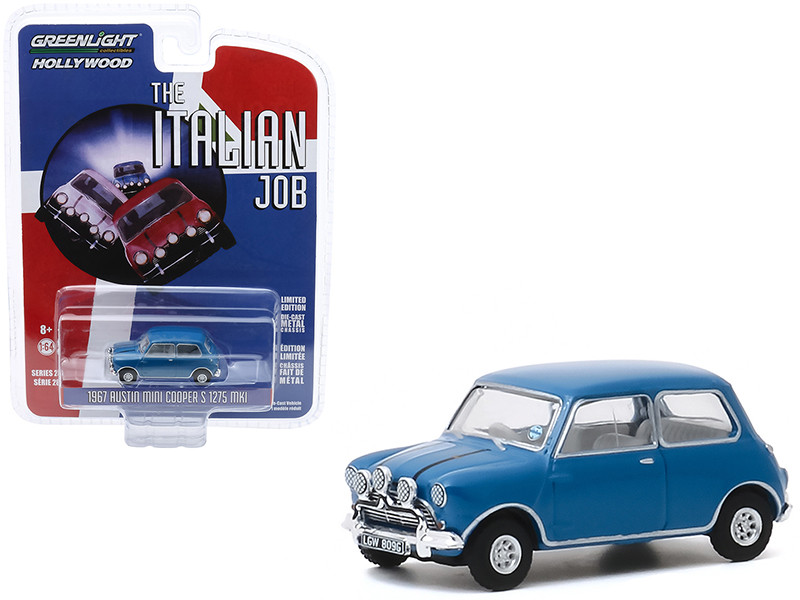 1967 Austin Mini Cooper S 1275 MkI Blue The Italian Job 1969 Movie Hollywood Series Release 28 1/64 Diecast Model Car Greenlight 44880 A